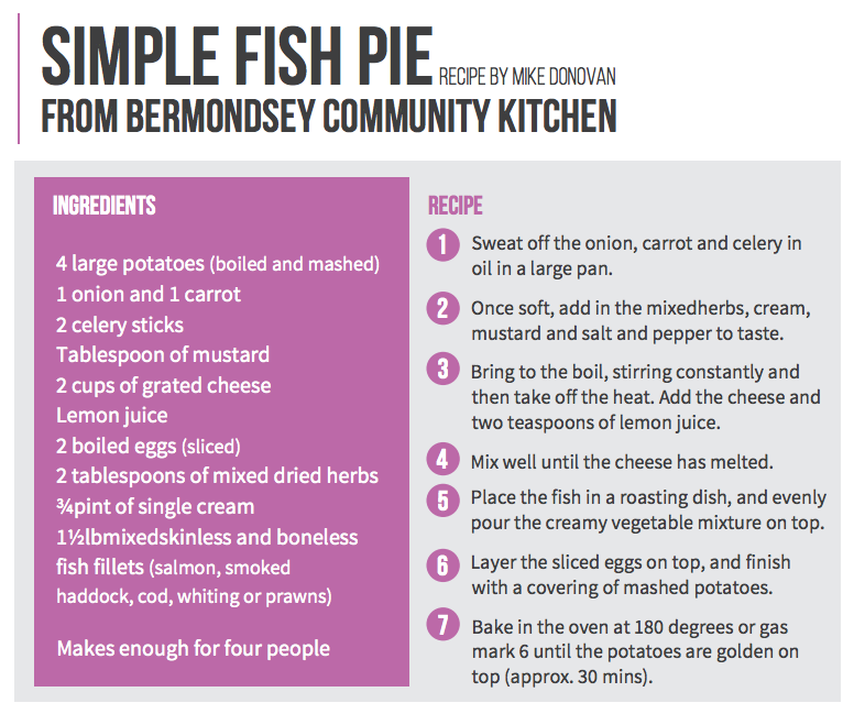 Simple fish pie recipe Bermondsey Community kitchen