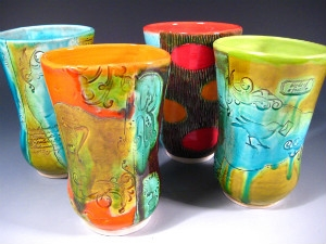 Cups by Sharon Virtue (earthenware) - thumb