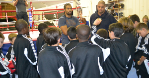 Boxer David Haye answers questions from Ballers footballers