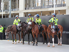 Arsenal Emirates Stadium August 3 2013 005 WPC Police Horses by David Hlot CC Flickr