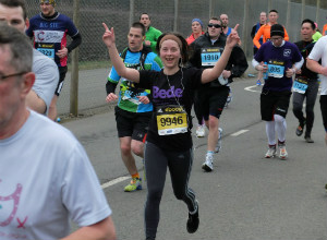 Kate Nottidge of Grosvenor runs the Silverstone half marathon for Bede - thumb
