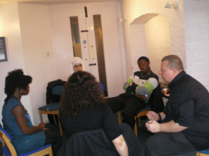 Role play with Dave Walker (right)