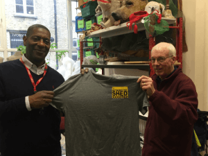 Devon Goodrich (left) with a Rotherhithe Shed T-Shirt