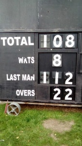 scoreboard - Recap- SPCC bowl out Burgess Park with Charlie taking 5-10 off 5 overs - thumb
