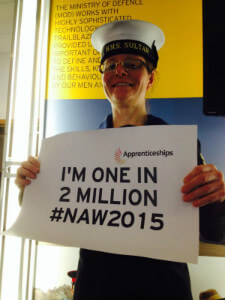 Apprentice at Royal Navy during National Apprenticeship Week 2015